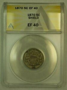 1870 Shield Nickel 5c Coin ANACS EF-40