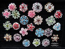 Brooch Lot 24 Mixed Color Rhinestone Pin Wholesale Crystal Wedding Bouquet DIY