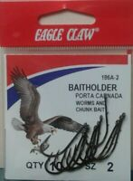 EAGLE CLAW FISHING HOOKS BAITHOLDER, SZ 2 QTY 10, FREE & PROMPT SHIPPING