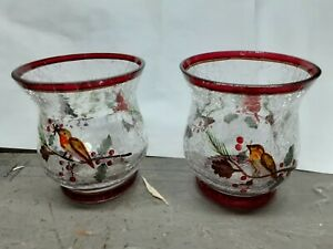 Yankee Candle Christmas Winter Birds Crackle Glass Votive Holder New w Box 2 pcs