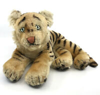 Steiff Tiger Cub Lying Mohair Plush 28cm 11in 1960s thinning toes muzzle Vtg