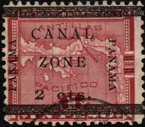 Canal Zone - 1906 - 2 Cents on 1 Cent Lake Panama Map Issue Overprinted # 17