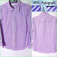 B4199 NEW M&S AUTOGRAPH BOYS PURPLE STRIPPED LONG SLEEVE SHIRT AGE 8 YRS