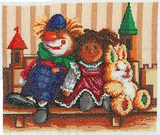 Dekoration Handarbeit aus der Lausitz Bild Stickbild Spielzeug Puppen gestickt