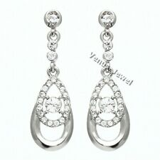 Silver-Tone Chandelier Dangle Teardrop Hoop Rhinestone Crystal Earring E929