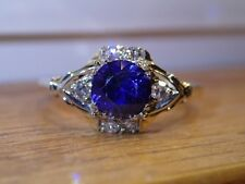 Vintage 14k YG and WG Synthetic Sapphire and Diamond Ring Semi Mount