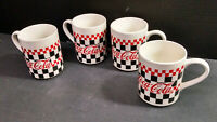 """Lot of 4 Vintage GIBSON COCA-COLA CHECKERBOARD SALAD Mugs/Cups, 4-1/2"""" Tall"""