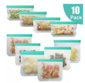 10 Pcs Reusable Food Silicone Storage Bags Freezer Stasher Fresh Zip lock Seal