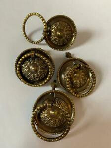 4x Ornate Solid Brass Vintage Round Cabinet Drawer Drop Pull Handles #IM1465