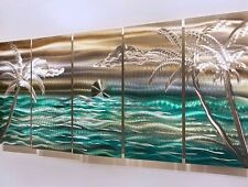 "Modern Abstract Tropical Metal Wall Art Decor Silver/Gold/Green""Castaway Summer"""