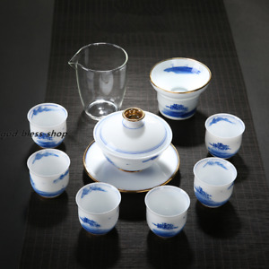 Dehua white china tea set porcelain gaiwan tea cup glass pitcher kungfu tea sets