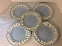 "Wedgwood Embossed Queens Ware a Lot Of 5: 9"" Plates Blue Pattern 2768, One Flaw"