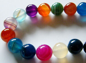 40pcs 10mm Round Natural Gemstone Beads - Mixed Agate