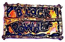 True Vintage BLACK POWDER MUSKET RIFLE Enamel Painted Metal Belt Buckle