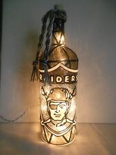 Raiders Inspiered Hand Painted Lighted Wine Bottle Stained Glass look