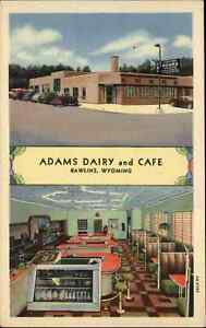 Rawlins WY Adams Dairy & Caf' Linen Multi View NICE COLOR Postcard