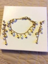 Roberto Coin 18K Gold naughets and  Pearl Bracelet and Matching Earrings