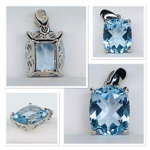 Blue Topaz Cushion Cut Pendant 925 Silver And Rhodium 8 Carat 12 X 10 Eye Clean