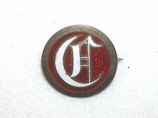 ANTIQUE STERLING SILVER, RED AND WHITE ENAMEL CRESCENT MOON FRATERNAL EARLY PIN