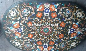 6'x4' Marble Green Table Top Multi Floral Marquetry Art Inlay Outdoor Decor E345