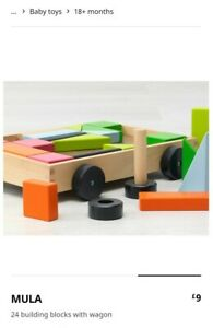 Baby IKEA Mula 24 Building Blocks With Wagon Wooden Toy