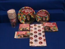 WILD MONKEY AROUND BANANAS BIRTHDAY PARTY INVITES TABLECOVER PLATES NAPKINS CUPS