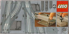 Lego 12 V Trains 7856 Left and Right Manual Points with Electric Rails GRAY NEW