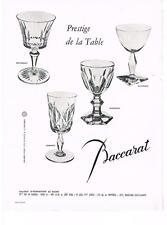PUBLICITE ADVERTISING  1958  BACCARARAT  prestige de la table verres cristal