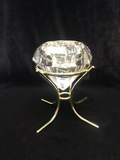 Partylite 24% Lead Crystal Diamond Shaped Solitare Votive Candle Holder Po174
