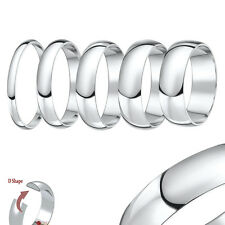 9ct White Gold Ring Light Weight D Shaped Wedding Ring Band (Solid & Hallmarked)