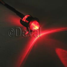 5mm Red LED Light Pilot Dash Indicator Warning 12V Lights Pre-Wired Bezel Holder