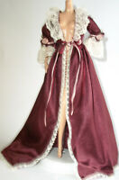 LINGERIE VICTORIAN BARBIE DOLL BURGUNDY SATIN LACE TRIMMED NIGHT GOWN CLOTHING