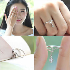 S925 silver small droplets ring size adjustable