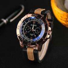 Stylish Men Watches Analog Quartz Faux Leather Stainless Steel Sport Wrist Watch