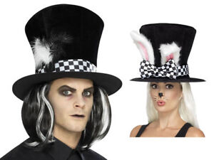 Alice in Wonderland March Hare Top Hat with White Rabbit Ears Tea Party Accessor
