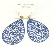 Tell Your Tale Gold Hook Blue Drop Rose Print Earrings