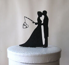 Fishing Wedding Cake Topper - Hooked on Love  with personalized Initials
