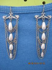 BEAUTIFUL Silver,Crystal & Faux Pearl Chandelier Earrings....6707
