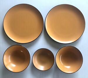 Mikasa Terra Stone Orange Sherbet x5 Pieces Plates Bowls Vintage 1970s MCM