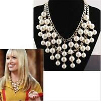 Womens Chunky Chain Collar Statement Necklace Bib Crystal Flower Pearl Pendant