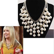 New Fashion White Resin Pearl Chain Chunky Choker Statement Pendant Bib Necklace