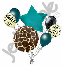 7 pc Tan Giraffe Print Balloon Bouquet Happy Birthday Baby Shower Animal Teal