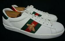 Gucci Men's White Ace Bee Clean Leather Low Top Sneakers Shoes Size 8 G / 9 US