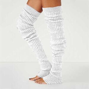 Women Winter Long Warm Leg Warmers Knitted Crochet Thigh High Long Bubble Socks