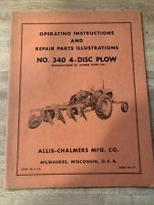 Allis Chalmers 340 4 Disc Plows Operator And Repair Parts Manual