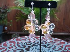 Gorgeous Peach & Clear Flower with Peach Beads Dangling Clip On Earrings