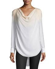 Haute Hippie  Silk Cowl Neck Long-Sleeve Blouse top in Buff/Swan $325  Size XS