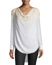 Haute Hippie  Silk Cowl Neck Long-Sleeve Blouse top in Buff/Swan $325  Size M