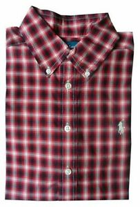 Ralph Lauren Shirt Boys size 8 years 8-9 Red Black Cream Check Small Pony LS New