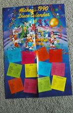 Disney Mickey Mouse 1990 disco calendar poster, can be used for 2018, dates fall